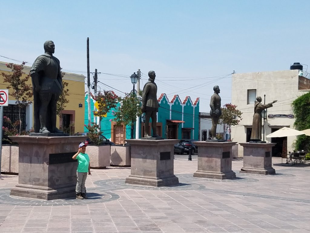 Plaza de la Fundadores or Founders Plaza with 4 statues of the influential men who founded Santiago de Queretaro
