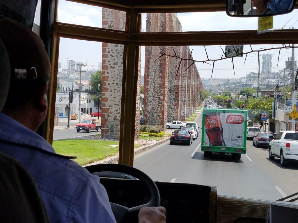 Viewing the aqueduct from the trolley, Queretaro