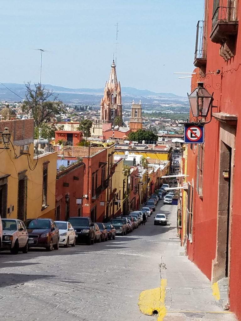 Downhill street view of San Miguel de Allende