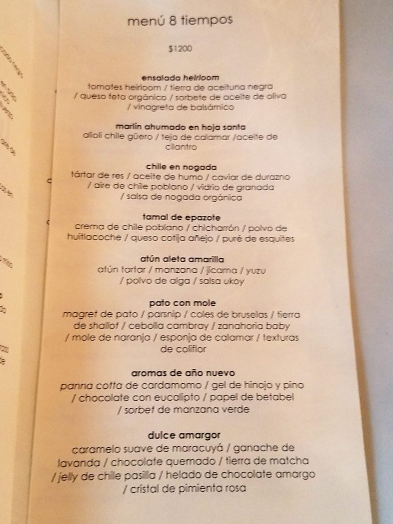 8-course menu at Lula Bistro in Guadalajara, Mexico