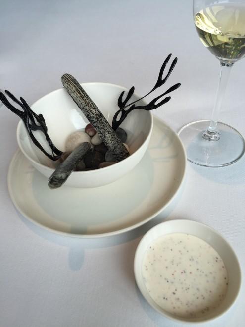 Razor Clams and white wine at Geranium- Copenhagen, Denmark