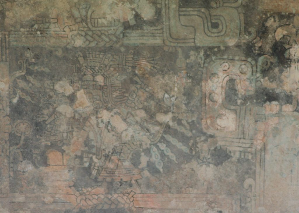One of the frescos on the Temple, Tulum, Mexico