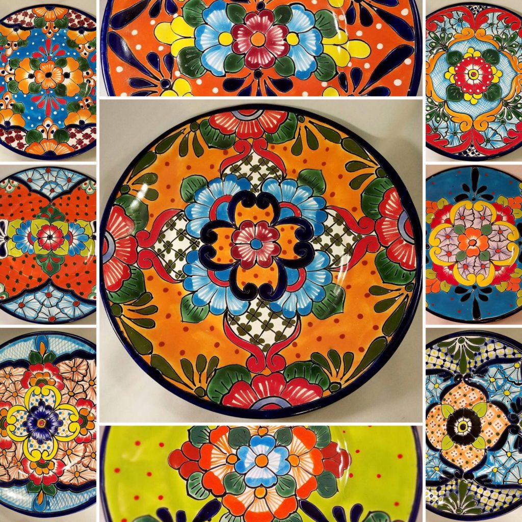 Talavera plate designs we bought at La Cuidadela Artisan Market