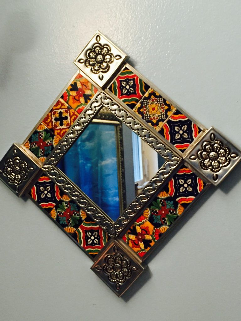 One of the tin tiled mirrors I bought at La Cuidadela Artisan Market
