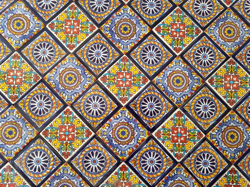 Tile collage in Dolores Hidalgo, Mexico
