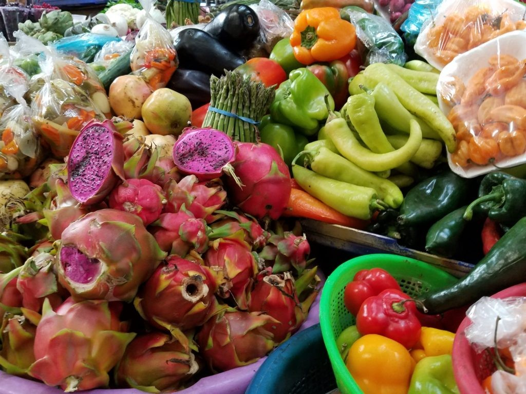 Colorful fruits at La Cruz Mercado, Queretaro, Mexico