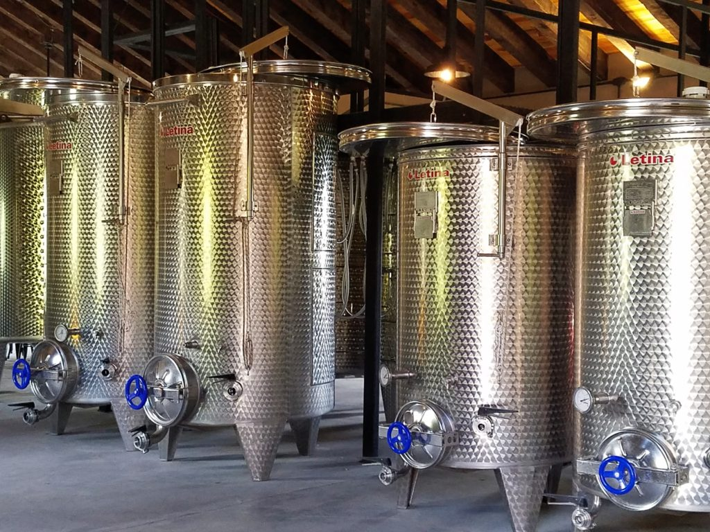 Stainless Steel Tanks at La Santisma Trinidad Winery, Mexico
