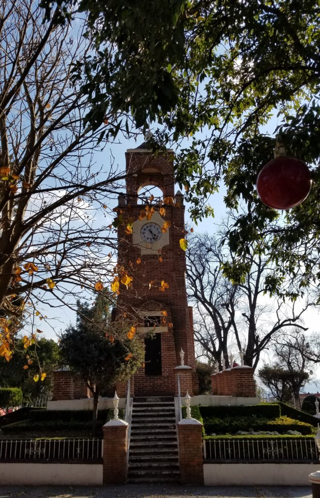 Clock tower in the plaza, Acambay