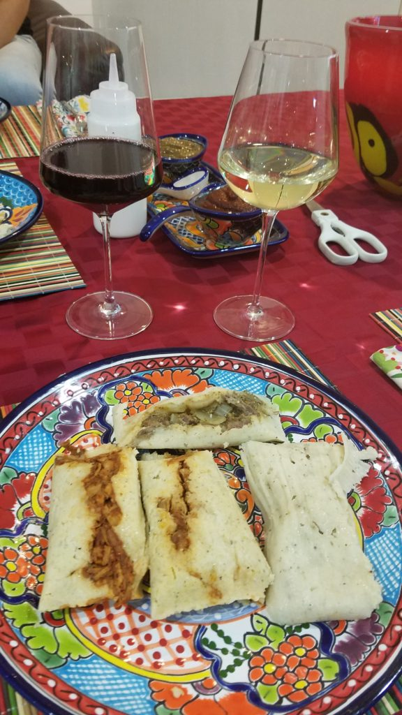 Tamale dinner with red and white wine