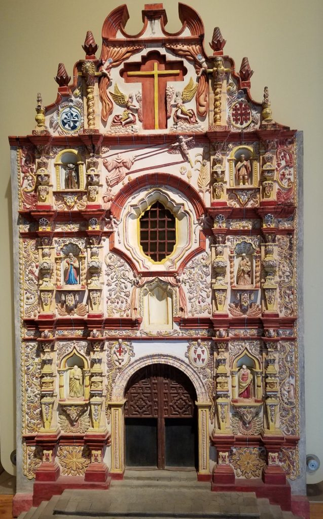 Miniature replica of the facade of Mision Tancoyol in the Sierra Gorda mountains, Regional Museum of Queretaro